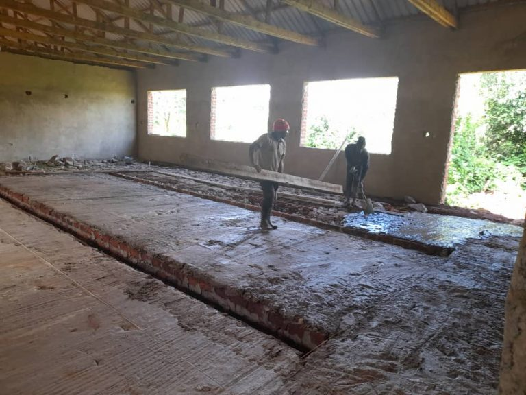 April 4, 2021: Concrete floor with plumbing channels for another classroom