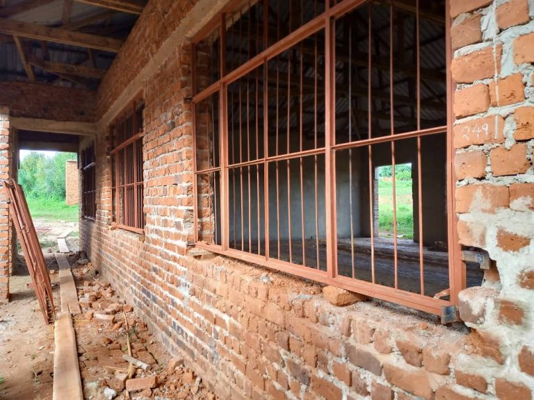 April 6, 2021: Windows painted and installed in some of the new classrooms