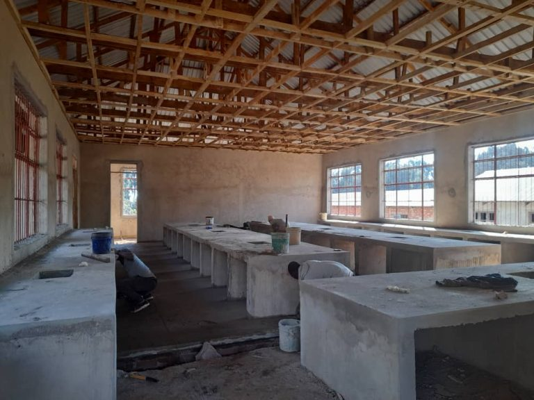 September 22, 2021: Concrete applied to lab stations and floor. Ready for plumbing. electrical  and tile